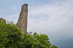 Torre de la Alda hermosa en Sacra di San Micaela, Turín Fotos de archivo libres de regalías