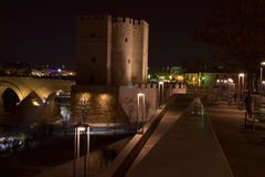 Torre de la Calahorra nocturna. Torre de la Calahorra night and part of l Roman bridge with halogen lighting, photo taken with a tripod Royalty Free Stock Image