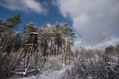 Torre de la caza cerca del borde del bosque en invierno Fotos de archivo libres de regalías
