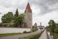 Torre de la ciudad en Abensberg Foto de archivo