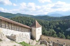 Torre de la defensa en la fortaleza de Rasnov Imagen de archivo libre de regalías