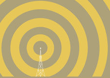Torre de la difusión con las ondas de la transmisión Fotografía de archivo libre de regalías