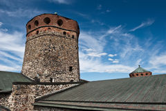 Torre de la fortaleza de Olavinlinna Imagen de archivo