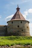 Torre de la fortaleza rusa vieja Oreshek Imagen de archivo libre de regalías