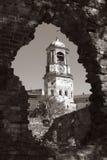 Torre de la hora en la ciudad de Vyborg imagen de archivo