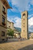 Torre de la iglesia de Collegiata en Sondrio Fotografía de archivo libre de regalías