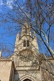 Torre de la iglesia de Eulalia del santo detrás de brunches imagenes de archivo