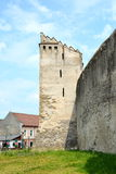 Torre de la iglesia fortificada Codlea Foto de archivo