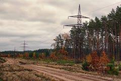 Torre de la línea eléctrica a lo largo del camino de tierra cerca del día nublado del bosque del otoño Imagen de archivo libre de regalías