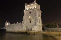 Torre de la noche de Belem - Lisboa Fotografía de archivo libre de regalías