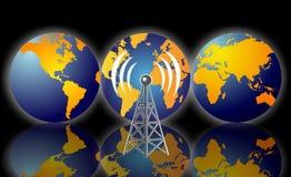 Torre de la radio de la tierra del planeta stock de ilustración