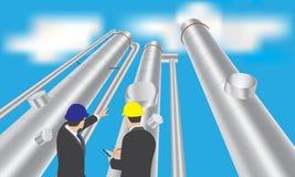 Torre de la refinería de petróleo con el hombre de negocios libre illustration
