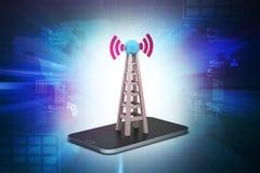 Torre de la señal con establecimiento de una red Fotografía de archivo