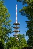 Torre de la TV en los árboles Sunny Summer Wireless Communica del verde del cielo azul Foto de archivo