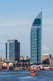 Torre de las Comunicaciones or Antel Tower is a 157 meter tall b. Telecommunications Tower or Antel Tower is a 157 meter tall building in Montevideo, Uruguay. It Stock Photo