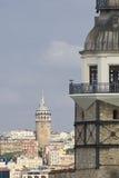 Torre de las doncellas y torre de Galata Fotografía de archivo