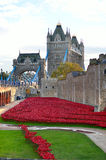 Torre de Londres com o mar das papoilas vermelhas para recordar os soldados caídos de WWI - 30 de agosto de 2014 - Londres, Reino Foto de Stock Royalty Free