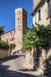 Torre de los enamorados, next to Romanesque tower of the Church royalty free stock photography