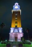 Torre DE los Ingleses English Toren bij nacht in Buenos aires stock foto's