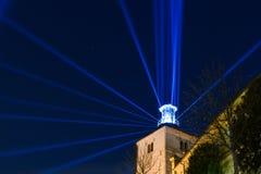 Torre de Lotrscak en Zagreb, Croacia durante el festival de luces imagenes de archivo