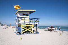 Torre de madera del salvavidas de Miami Beach Imagen de archivo libre de regalías