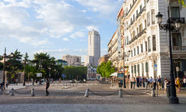 """Torre de Madrid building sunnset view on a spring day in Madrid. Madrid, Spain - May 6, 2012: Torre de Madrid building sunnset view from """"Calle de San Quintin"""" Royalty Free Stock Photo"""