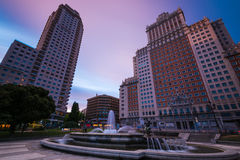 Torre DE Madrid en edificio DE España Royalty-vrije Stock Foto
