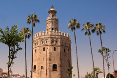Torre de Oro and pavilion of navigation Royalty Free Stock Image