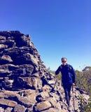 Torre de pedra piramidal na montanha do urso Foto de Stock