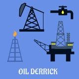 Torre de perforación de aceite y concepto de la explotación minera Imagen de archivo