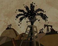 Torre de petróleo que joga para fora o dinheiro Fotos de Stock Royalty Free
