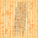 Torre de Pisa del bosquejo, fondo del vintage del vector Fotografía de archivo libre de regalías
