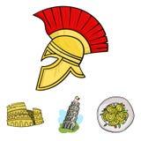 Torre de Pisa, massa, coliseu, capacete do legionário Os ícones ajustados da coleção do país de Itália no estilo dos desenhos ani Fotos de Stock