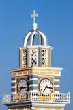 Torre de pulso de disparo da igreja em Fira, Santorini Imagem de Stock