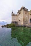 Torre de pulso de disparo do castelo de Chillon no lago Genebra em Suíça Imagem de Stock Royalty Free