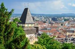 Torre de pulso de disparo Uhrturm Graz Imagem de Stock Royalty Free