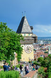 Torre de pulso de disparo Uhrturm Graz Foto de Stock Royalty Free