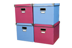 Torre de rectángulos rojos y azules Fotos de archivo libres de regalías