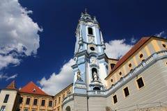 Torre de reloj de la abadía de Durnstein, valle de Wachau Imagen de archivo libre de regalías