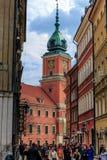 Torre de reloj del castillo real en Varsovia Fotos de archivo libres de regalías