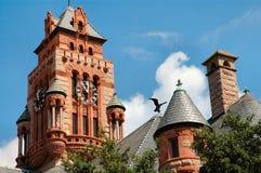 Torre de reloj del palacio de justicia y águila en Waxahachie, Tejas Fotografía de archivo