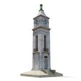 Torre de reloj en el fondo blanco Fotos de archivo