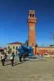 Torre de reloj en Murano Foto de archivo libre de regalías
