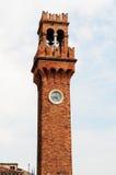 Torre de reloj en Murano Fotografía de archivo