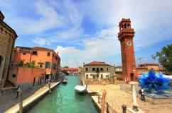 Torre de reloj en Murano, Italia Imagen de archivo libre de regalías