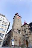 Torre de reloj en Suiza Imagenes de archivo