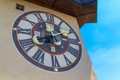 Torre de reloj famosa en Graz, Austria Imágenes de archivo libres de regalías