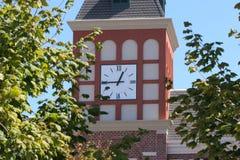 Torre de reloj holandesa en árboles Imagen de archivo