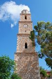 Torre de reloj, isla de Halki Imagen de archivo libre de regalías