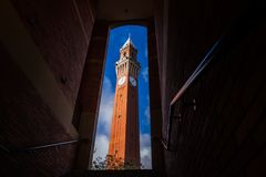 Torre de reloj vieja del ` de Joe del ` en la universidad de Birmingham, Reino Unido Fotos de archivo